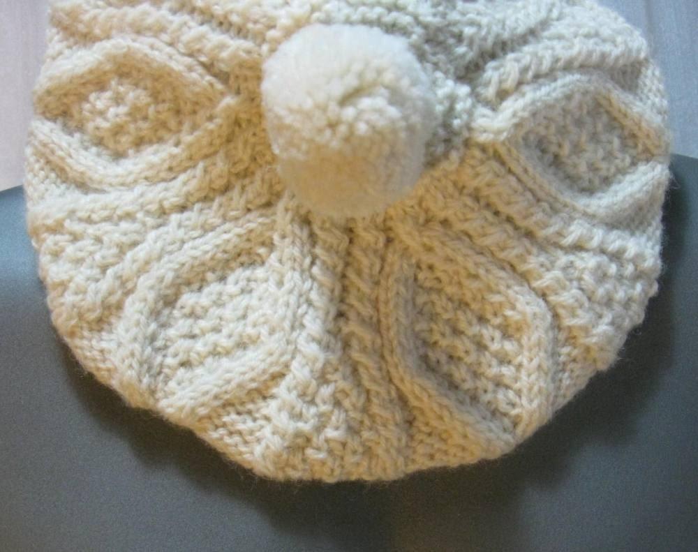 Irish Beret Knitting Pattern : Vintage Irish pom pom knit beret by funkomavintage on Etsy