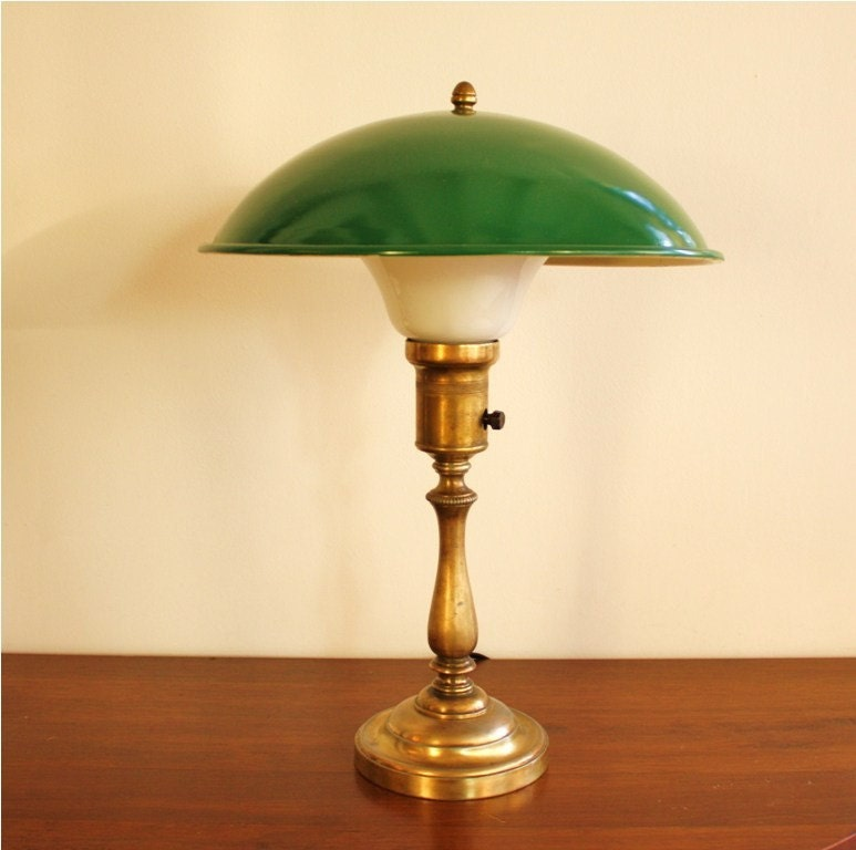 Vintage Brass Office Lamp Green Shade Library By