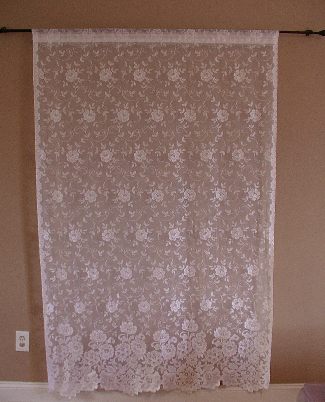 Window Victorian Lace Curtains White Flowers by SmartSquirrel