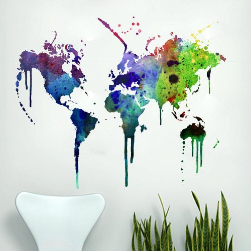 World map wall decal - Watercolor for housewares - decalSticker