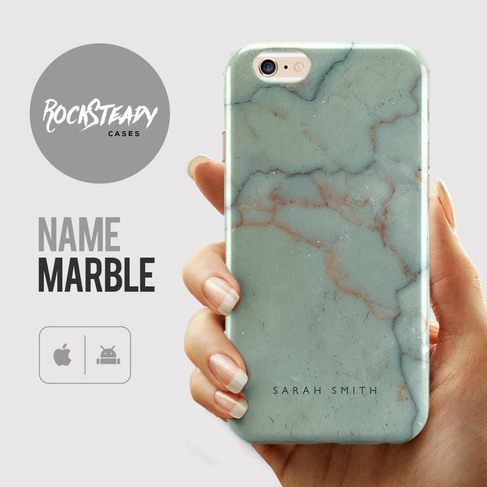 Custom Name Marble iPhone 6s case 6 Plus 5C 5S SE case Personalized Samsung Galaxy S6 S7 S5 cell phone cover Green stone phone case