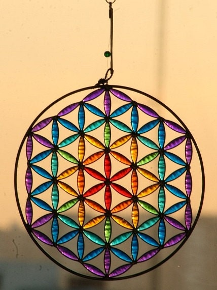 Coloring Flower Of Life : Flower of life chakras color mandala suncatcher by mownart