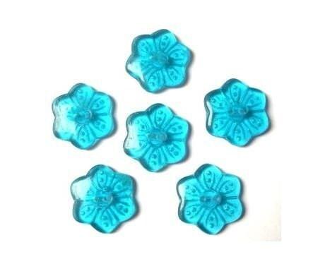 6 Vintage glass buttonssix petal flower shape by oritdotan