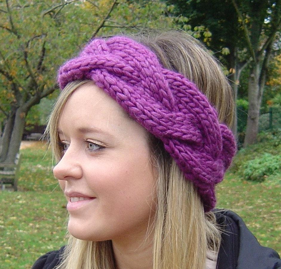 Knitting Headband Pattern Easy : Earwarmer KNITTING PATTERN Quick Knit Plaited Cable Headband PDF Digital Deli...