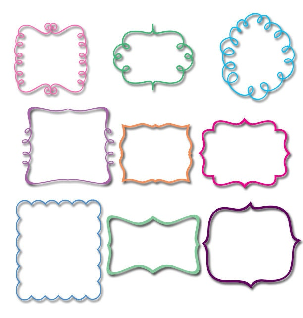 Embroidery font frame set by boutiquefonts on etsy