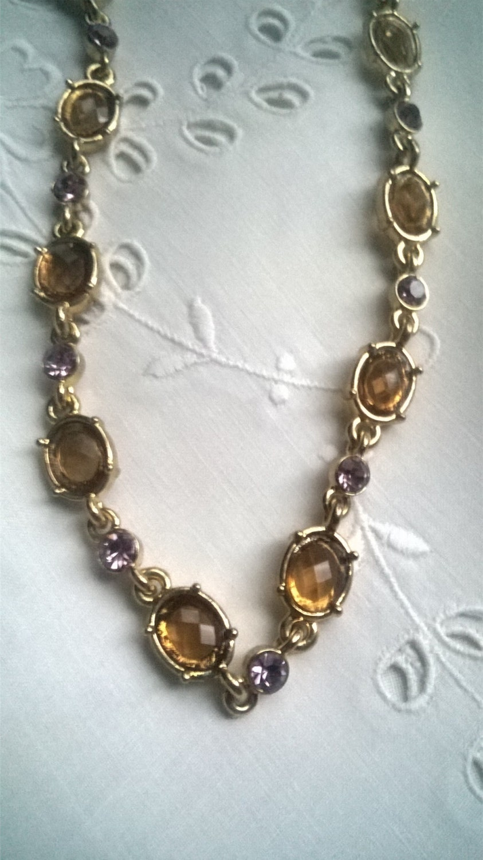 vintage Necklace  Bijoux Terner Necklace faux Amber  Amethyst  Necklace