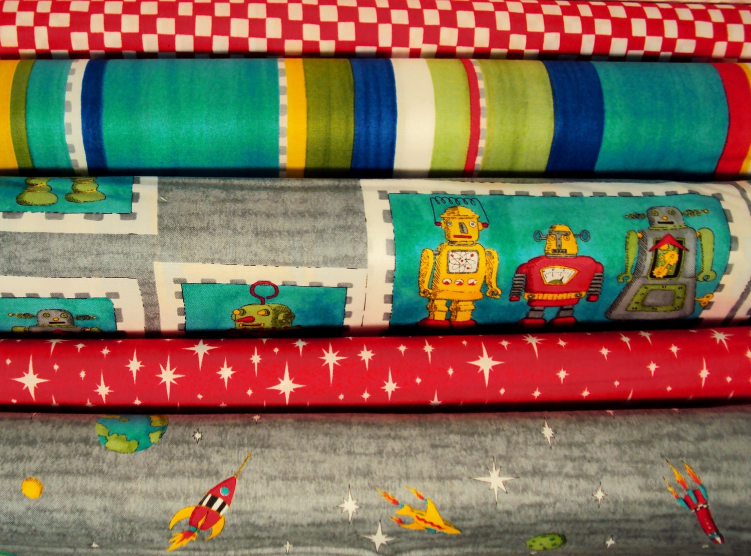 Robots 5 yd set moda modern quilting fabric by for Robot quilt fabric
