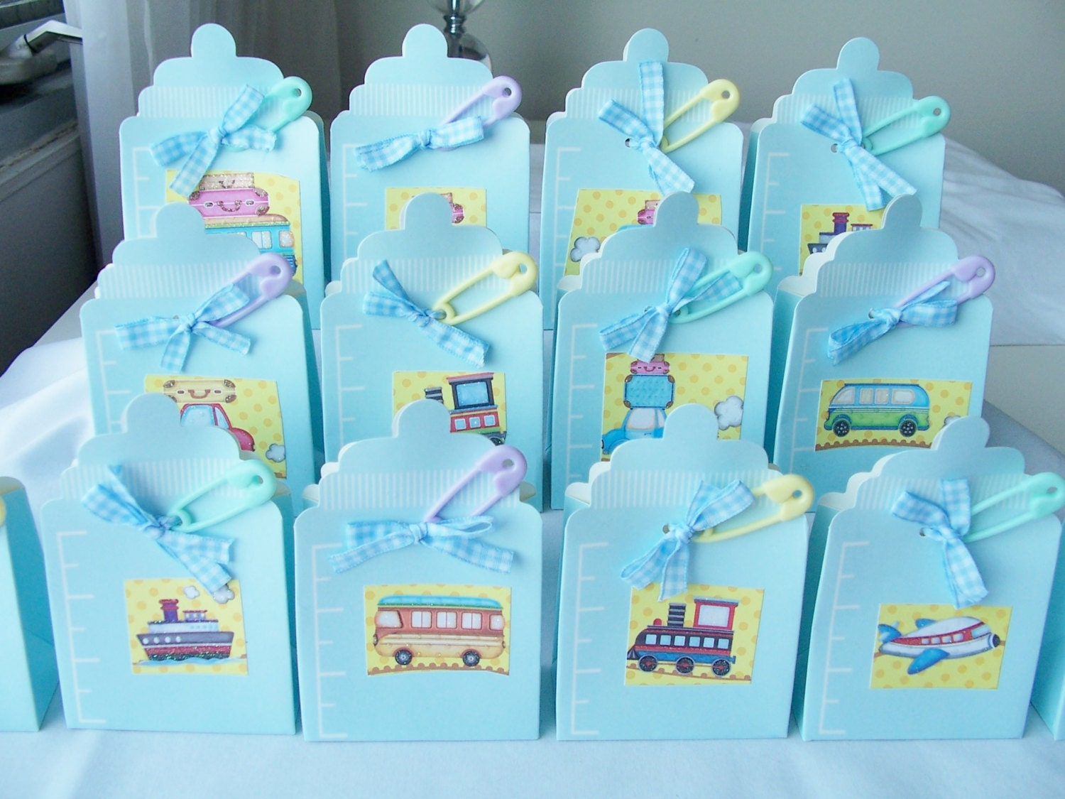 Favour Boxes Baby Blue : Blue baby bottle party favour boxes by