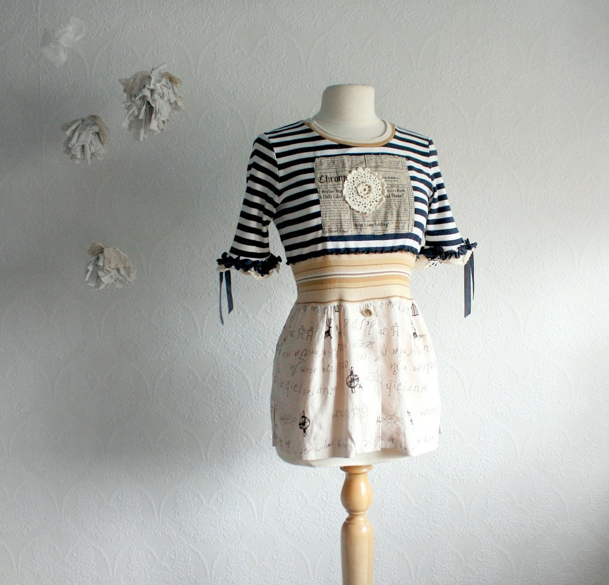 Women's Nautical Top Upcycled Clothing Navy Striped Beige Sailor Shirt