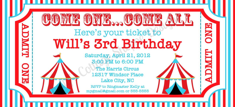 circus ticket invitation custom printable by