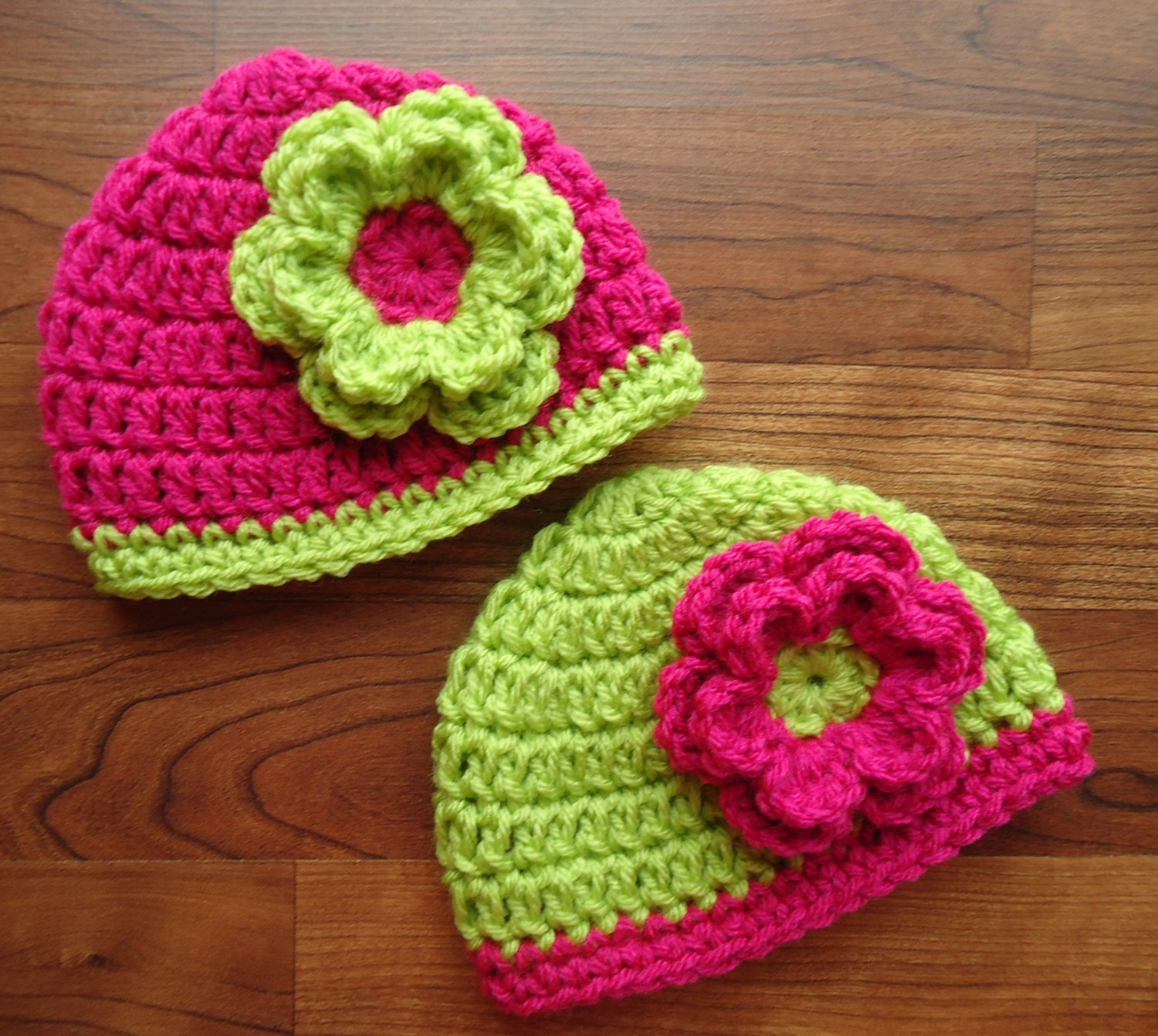 Crochet Hat Patterns For Twin Babies : Crocheted Baby Twin Girls Hat Set with Flower by ...