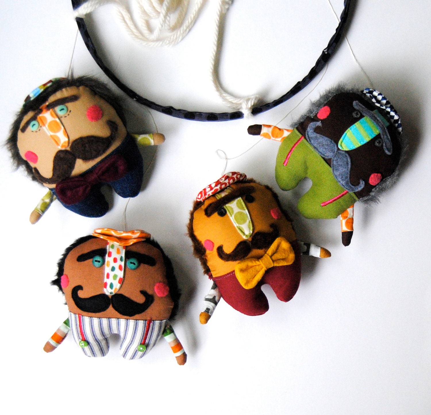 Baby Mobile --- A Mustachioed Mobile of Dapper Men for Babies ---Made to Order