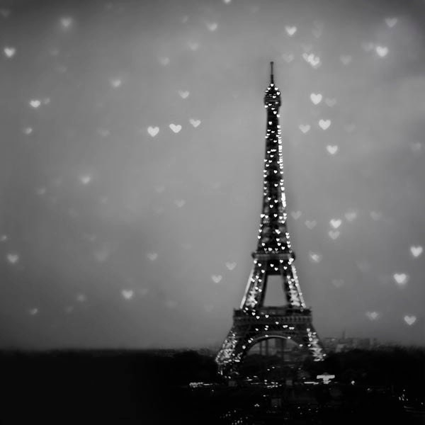Black Friday, Sale,  Paris Photography, Eiffel Tower, Christmas, Gray, black, winter, white, Blur, Hearts, Wall Decor 12x12 - Raceytay