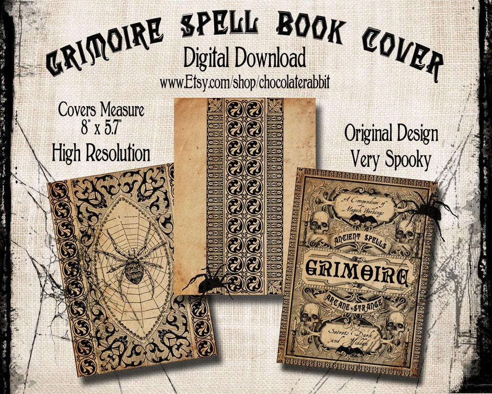 Book Cover Art Etsy ~ Spell book cover halloween witch digital by chocolaterabbit