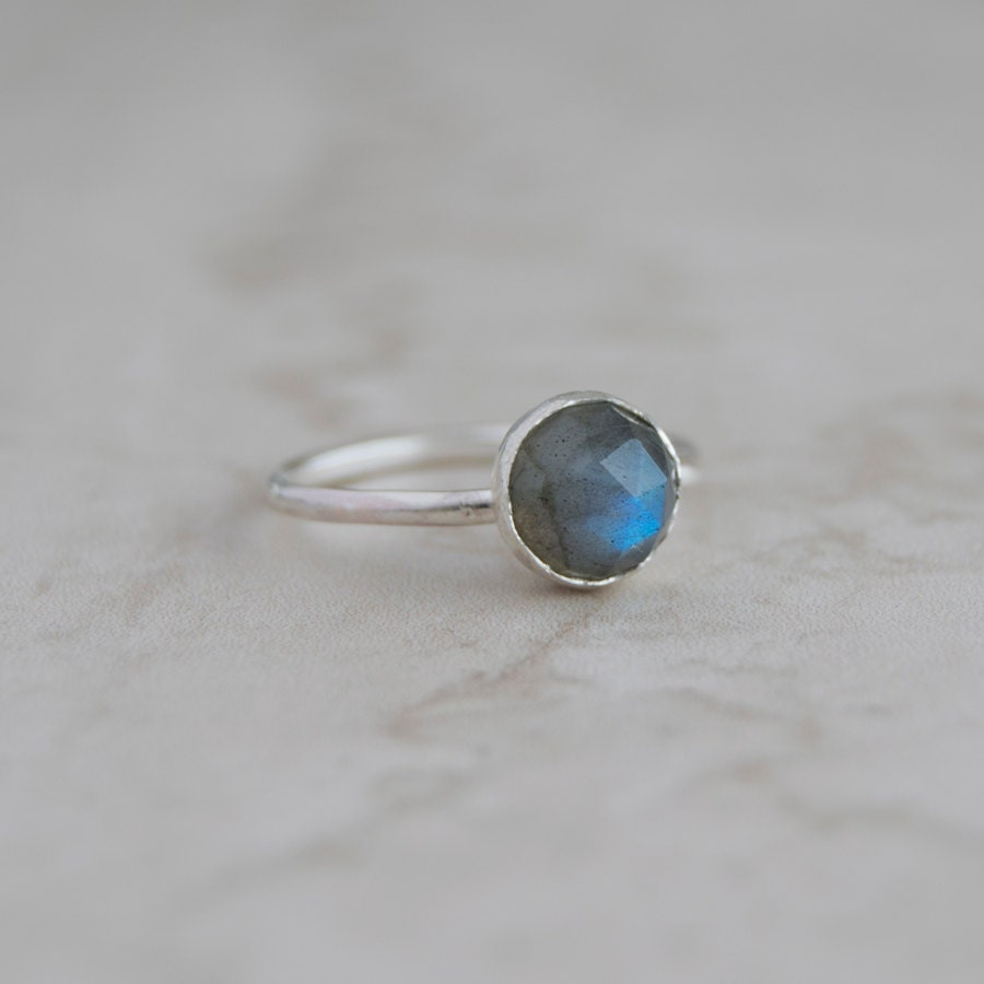Gemstone ring Labradorite Ring Stacking Rings Gift for wife Anniversary gift Silver Stacking Ring