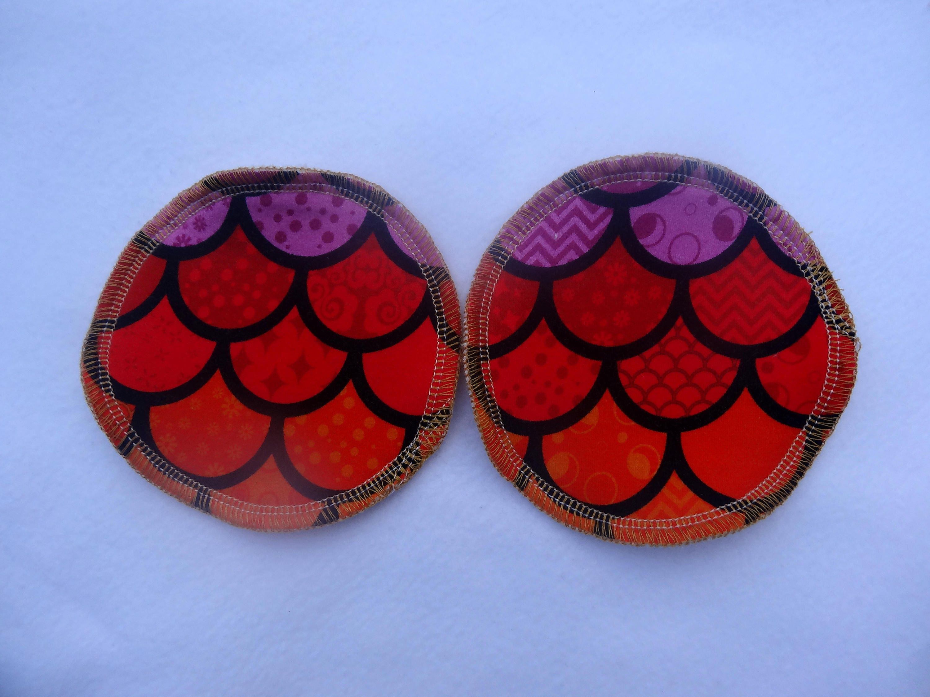 Reusable Breast Pads  Scales Jersey fabric and organic bamboo velour  regular size  washable and reusable