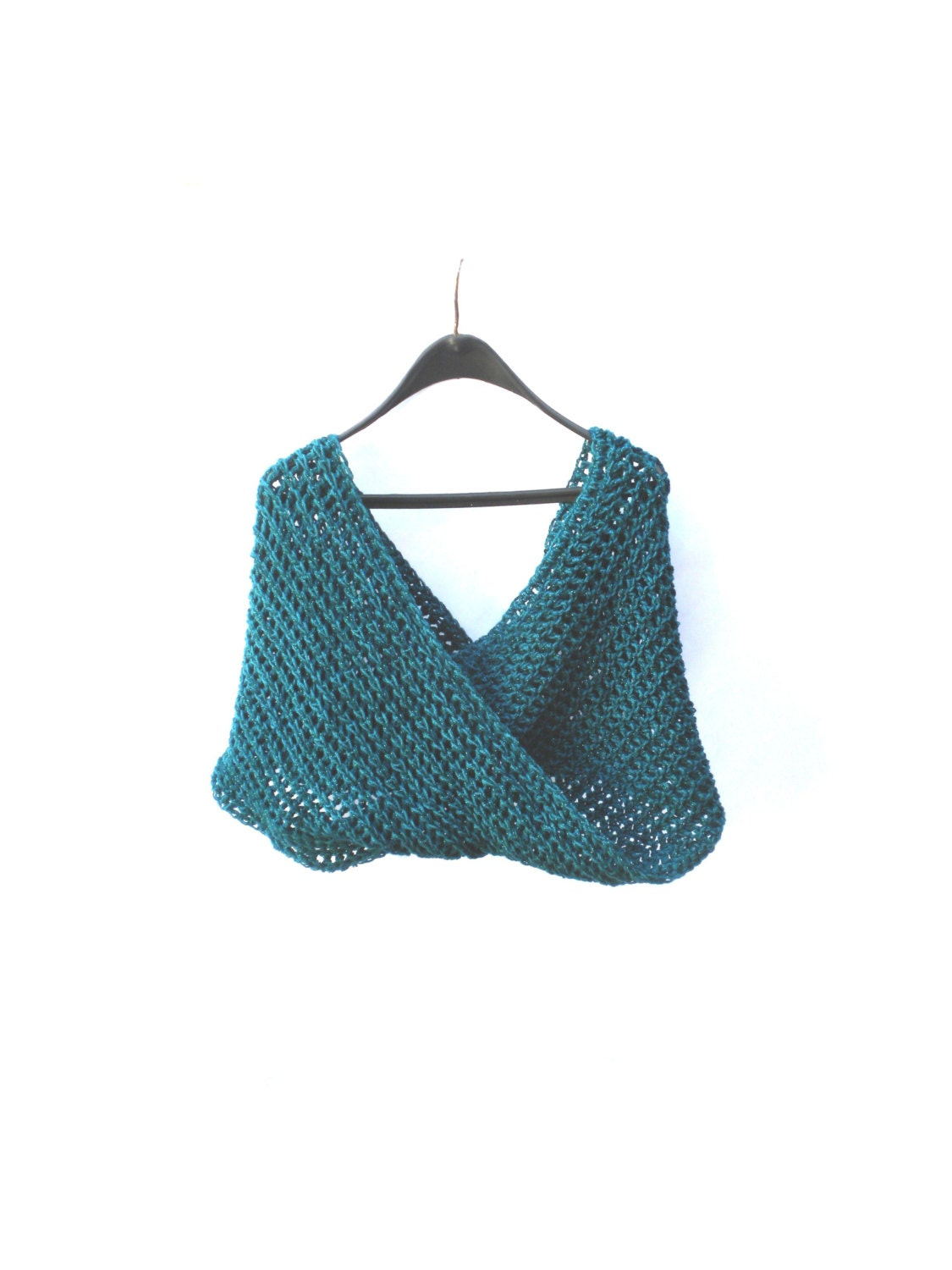 Pippi's TEAL Chunky Infinity Scarf, with SPARKLES, Double Wrap, Crochet, Valentines Gifts, For Her, Winter Fashion, Womens, Warm, Cozy - pippisLongstockings
