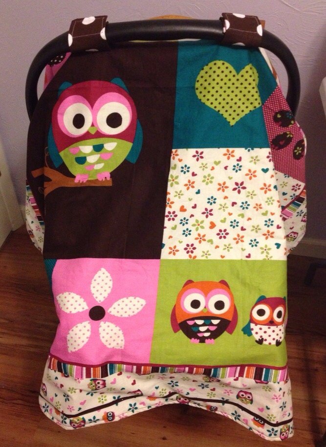 new infant car seat canopy cover blanket owls by apiecefulnina. Black Bedroom Furniture Sets. Home Design Ideas