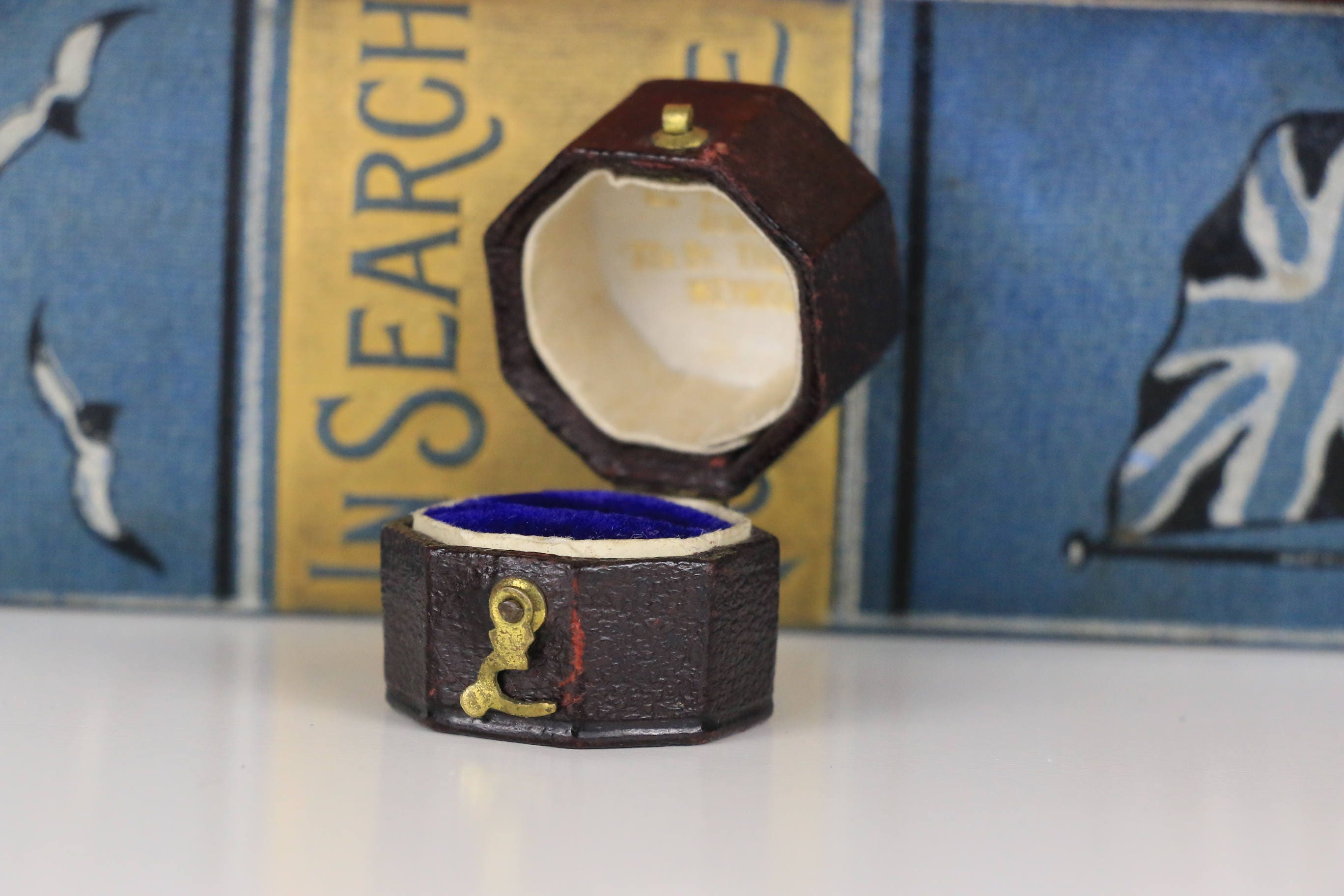 Antique Ring Box Octagonal Engagement or Wedding Ring Box with Gold Lettering and Blue Interior