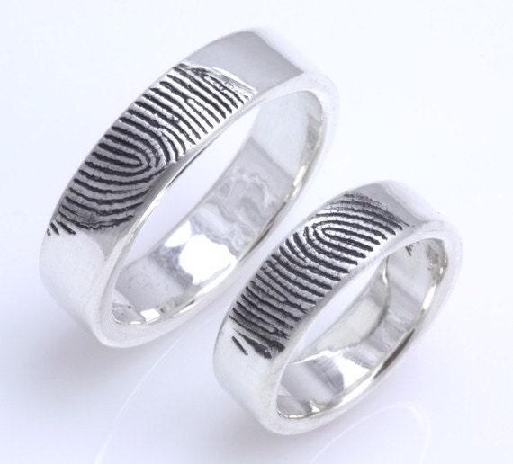 6mm 6mmSet of TwoSterling Silver Custom Fingerprint Wedding or