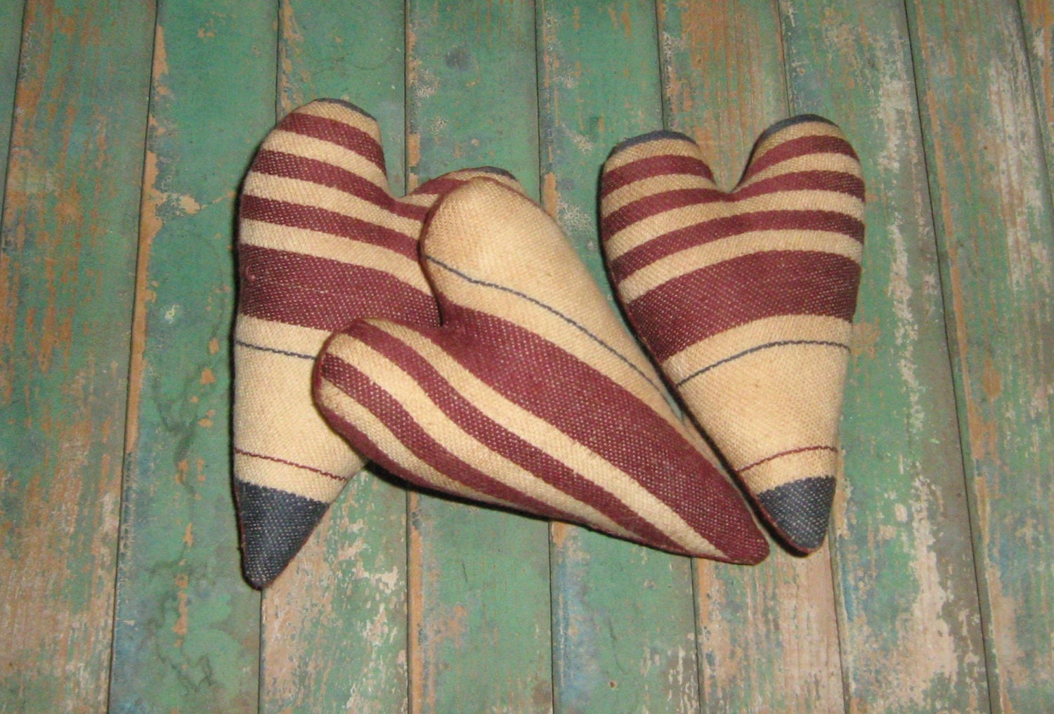 3 Americana Heart Ornaments - Bowl Fillers - Tucks - Shelf Sitters - cranberry burgundy blue off-white natural - PrairiePrimitives