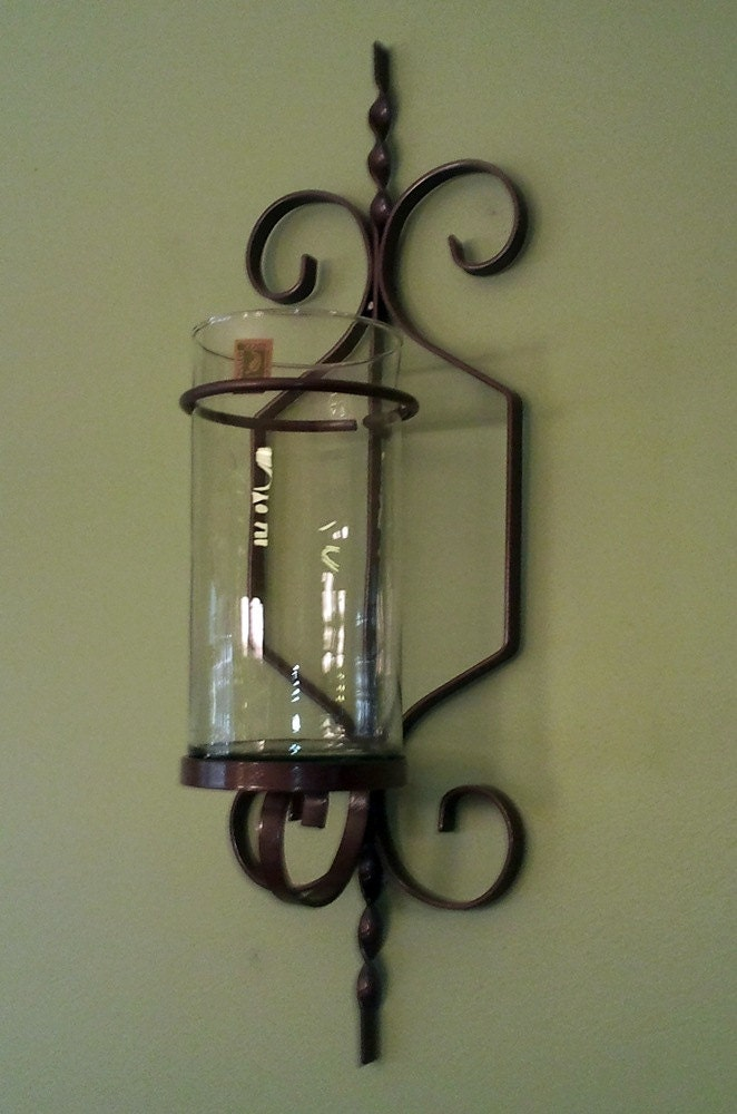 Custom Metal Wall Sconces : Wrought Iron Wall Sconce with Cylinder by HomeandYardTreasures