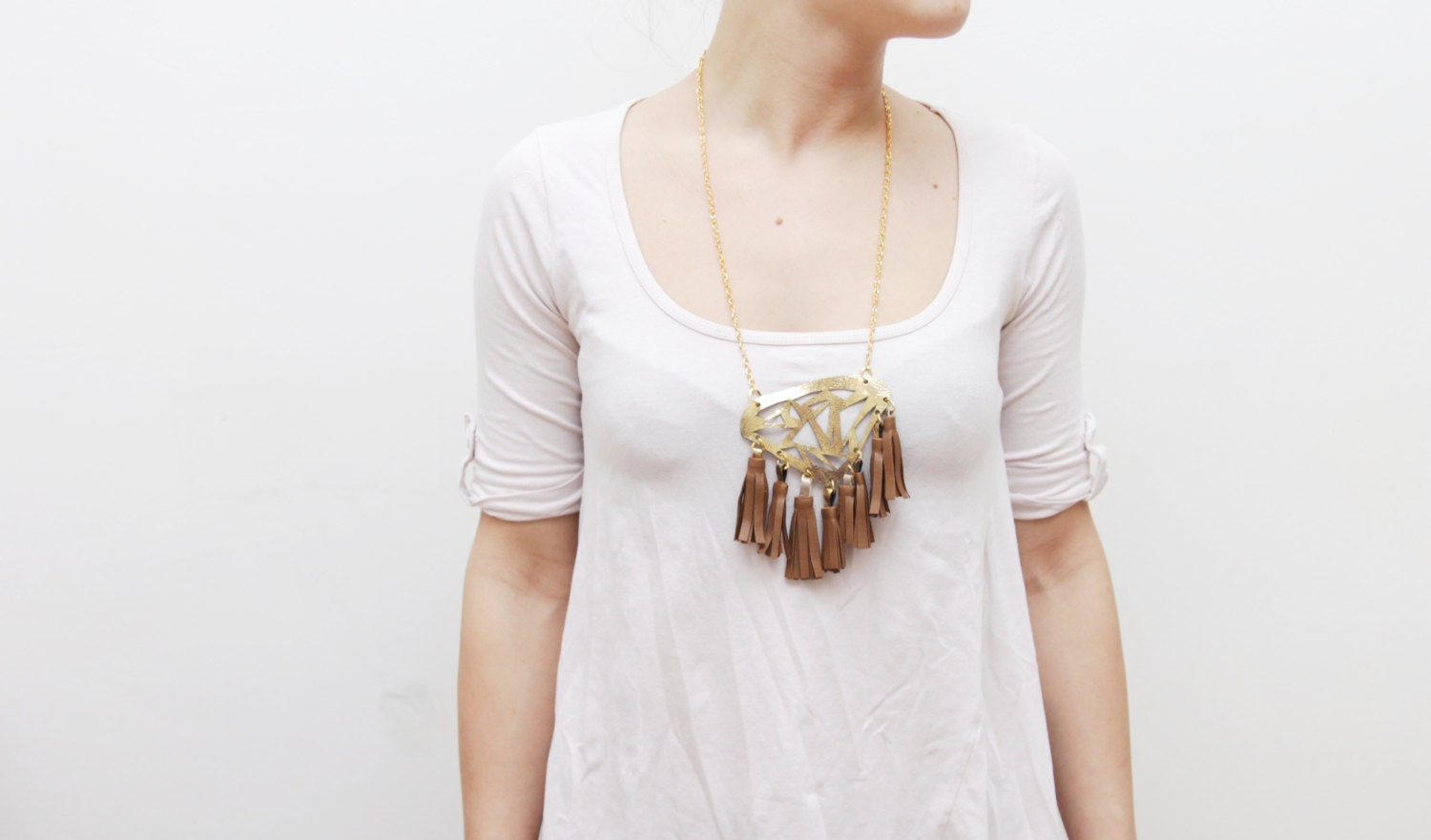 50% off BOHO/ Gold & Brown leather necklace - Ready to Ship - Christmas Sale - DDSLLGirlsStore
