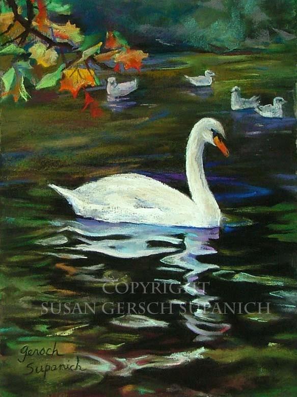 """Art Print  """"Dublin Swan"""" waterscape painting 11 x 14 - Susan Gersch Supanich"""
