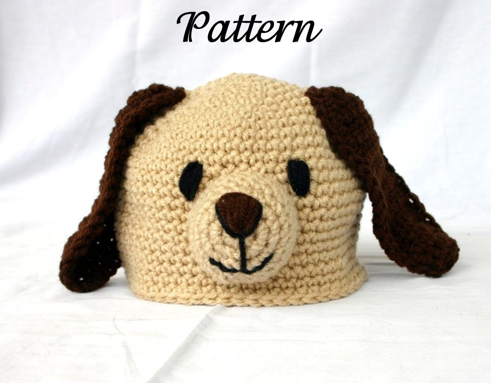 Crochet Baby Hat Patterns Dog : Baby Toddler Puppy Hat PDF Crochet PATTERN by ...
