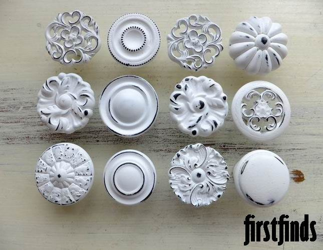 12 Misfit Lg Shabby Chic White Distressed Knobs By Firstfinds