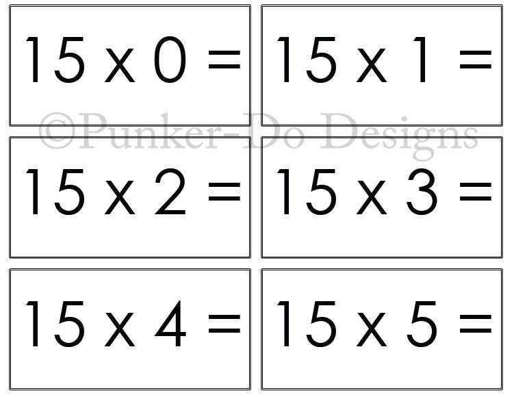 - MATH - flash cards - 1x-15x - Instant Download Printable ...