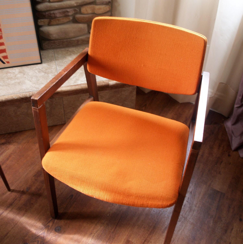 1960s mid mod chairs burnt orange danish by acesfindsvintage