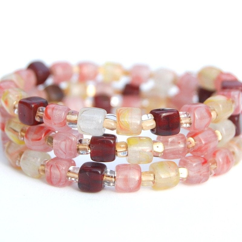 Pink, Lemon and Burgundy Memory Wire Bracelet, Beaded Bangle, Gift for Her, Spring Accessory