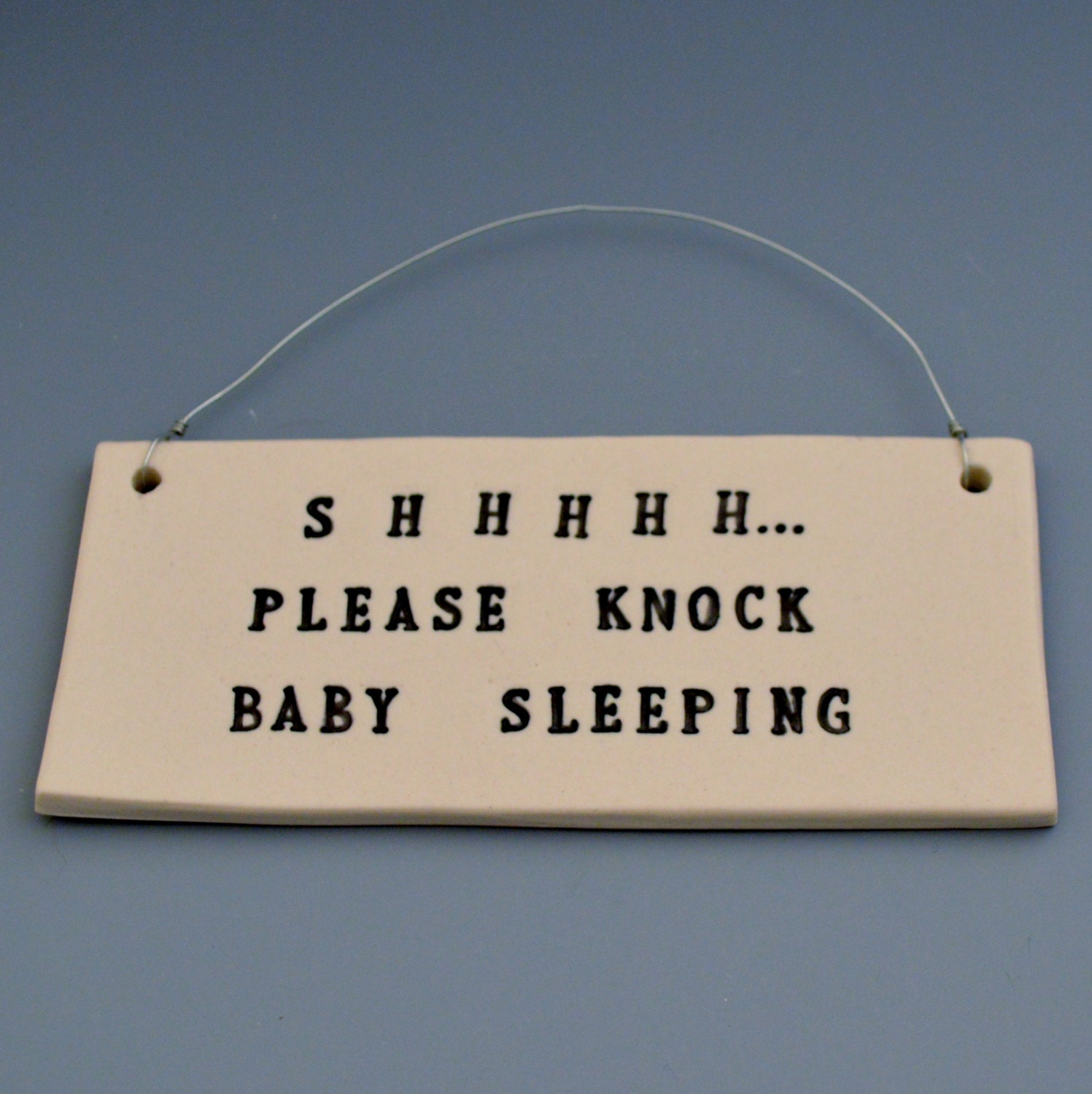 Shhhhh... Please Knock Baby Sleeping - Black and White Porcelain Tile #4