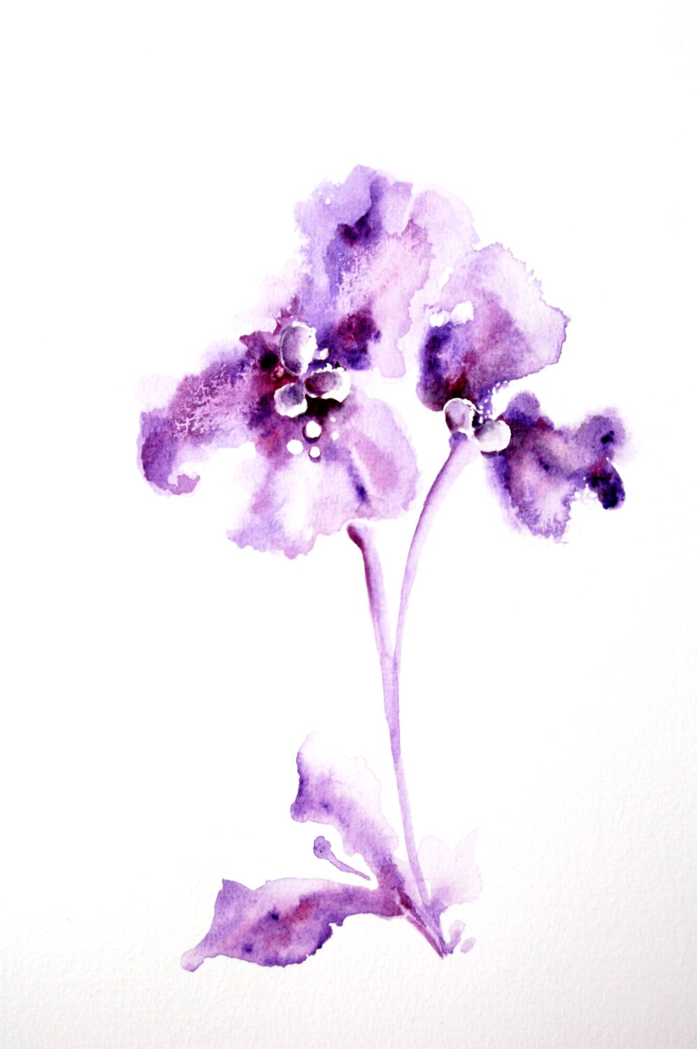 Original Watercolor Painting of Abstract Minimalist Flower. Purple Minimalist Floral Wall Art. - CanotStop