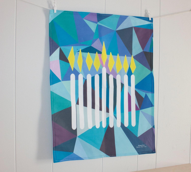 Hanukkah Menorah Holiday Tea Towel in Multi-Blue Geometric print fabric made from Linen Cotton blend 18 x 24 inch - wickedmint