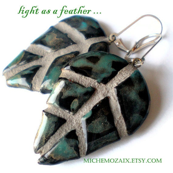Black Raku Leaf REVERSIBLE Mosaic Tile Earrings
