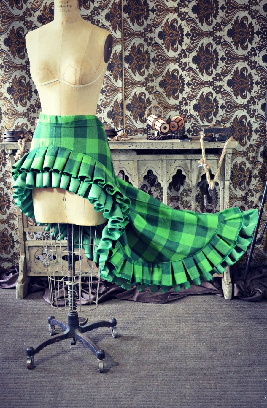 Scandalous Victorian Steampunk Harry Potter Slytherin Green Plaid Ruffle Skirt - WaterlilyWorks