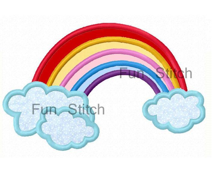 Rainbow applique machine embroidery design by funstitch on