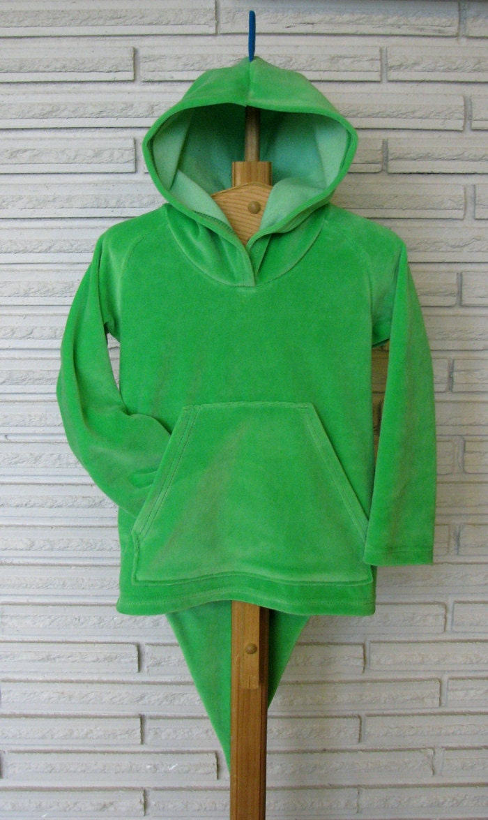 Dinosaur Hoodie, Kelly Green and Turquoise, size 4T