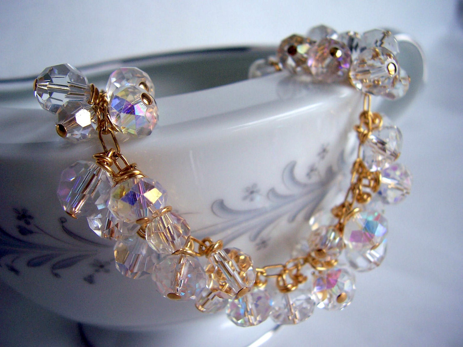 Clear crystal and gold bracelet