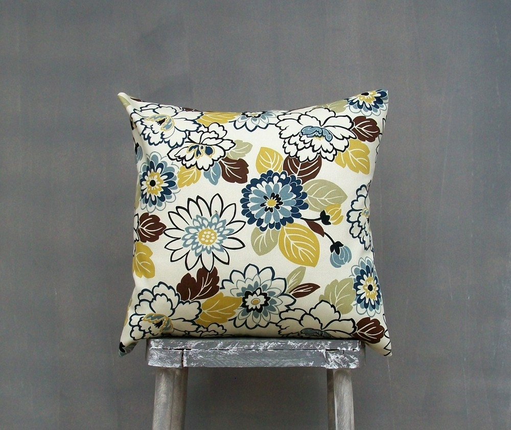 Brown Green Gold And Blue Floral Pillow Cover By Edenpillows
