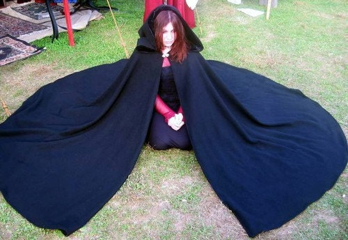 Black Wool Three Quarter Circle Cloak Ready to Go, SCA, Halloween, Pagan, Medieval, Renaissance, LARP - CamelotCreationscom