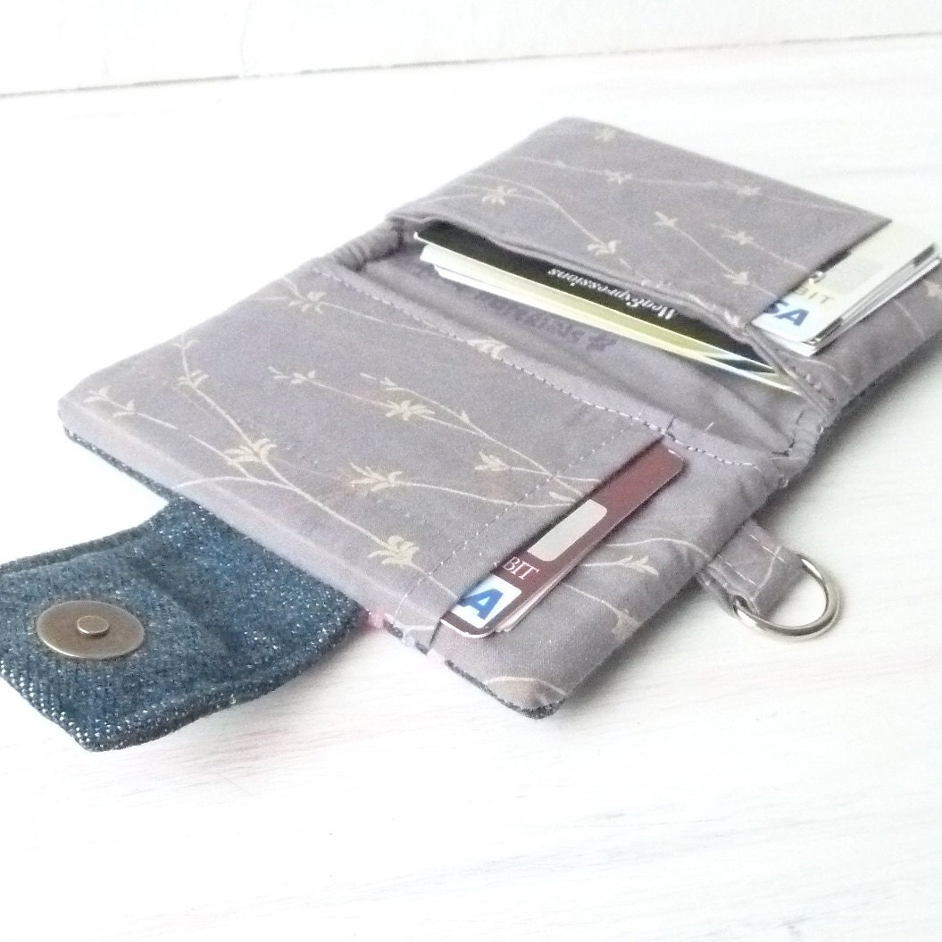 Women Wallet. Denim Card Case. Credit Card Holder. Fabric Ladies Organizer. Vegan Recycle Jeans Pink Ric Rac Wristlet Add on - MegExpressions