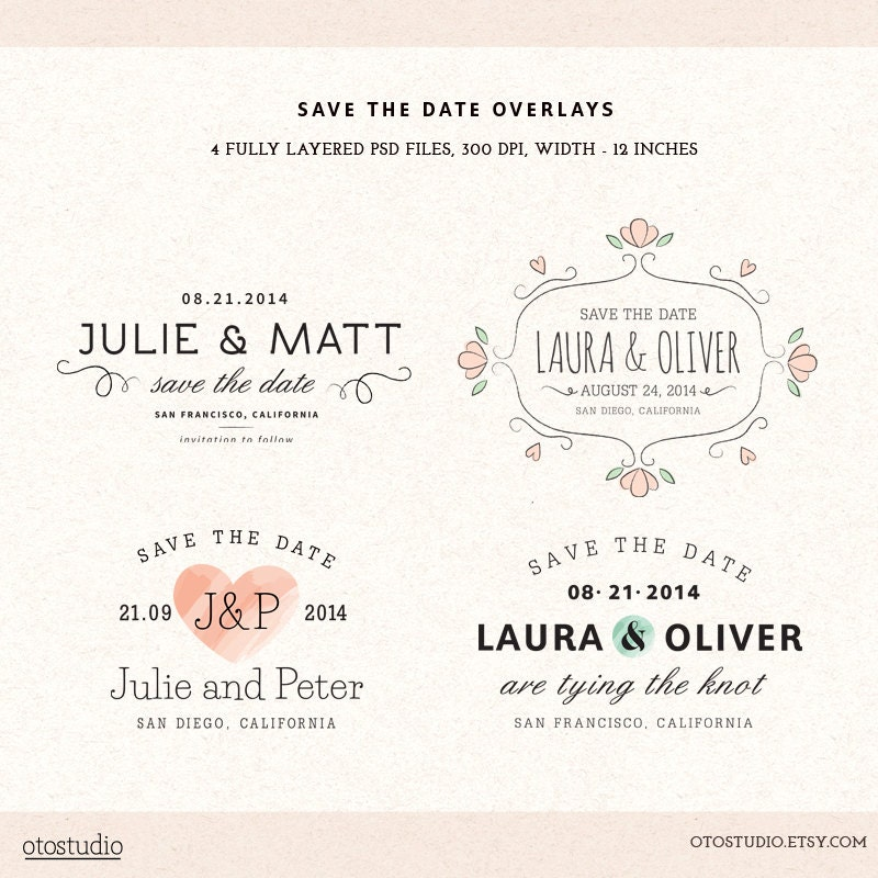 electronic save the date template - digital save the date overlays wedding photo card by otostudio