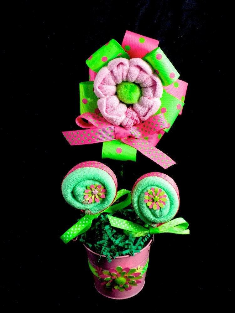 Items similar to pink green polkadot washcloth flower for Pink diaper bouquet