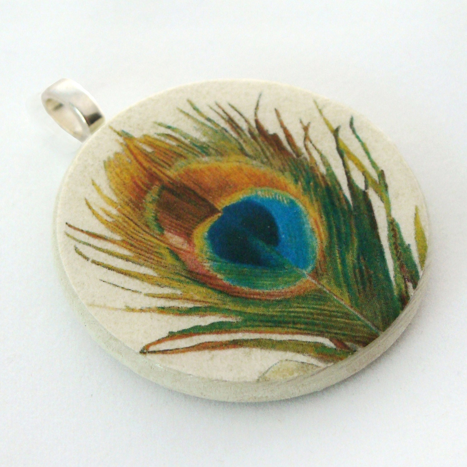 Pendant, Vintage Peacock Feather, Handmade Decoupaged, FREE SHIPPING - retropage