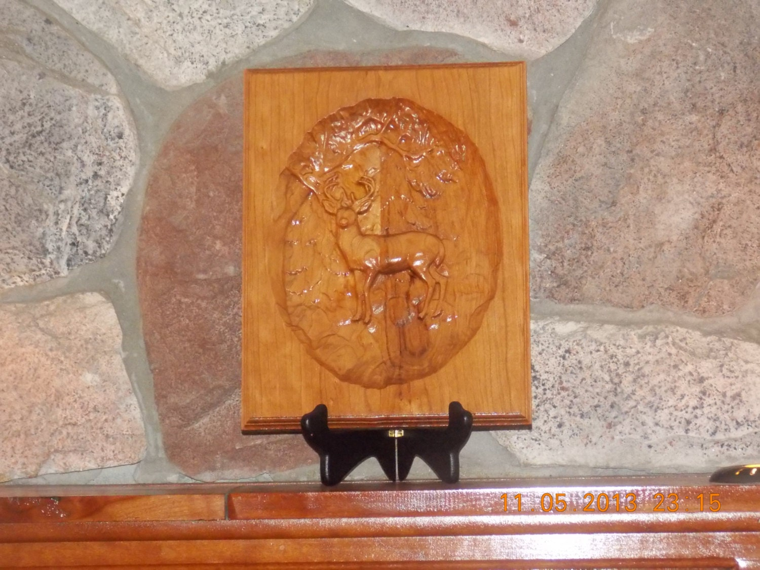 Carved wood deer wall hanging reclaimed by thewoodgraingallery