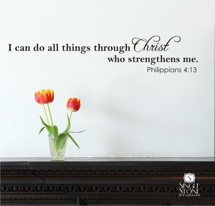 wall decal quote i can do all things vinyl by singlestonestudios. Black Bedroom Furniture Sets. Home Design Ideas