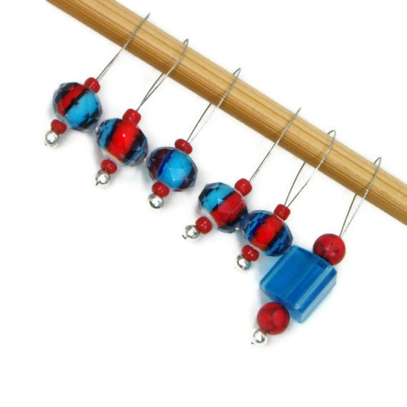 Knitting Markers Beads : Blue red beaded knitting stitch markers set snag by tjbdesigns